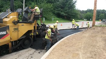 Brubacher paving crew completes road widening Chichester Business Park, Delaware County, Lower Chichester Township, PA